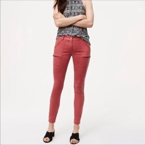 Ann Taylor Loft red skinny ankle cropped jeans 2